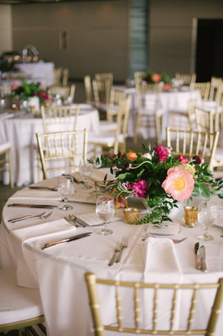 Peony wedding table flower arrangement