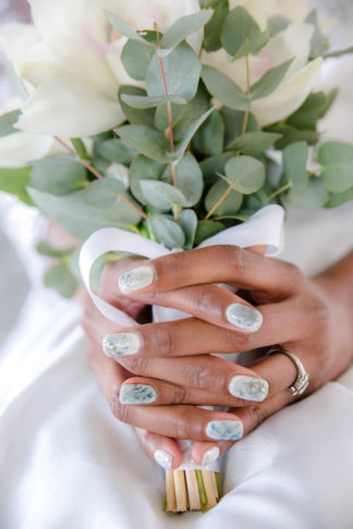 Watercolor wedding nails