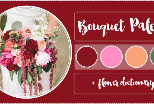 Burgundy, Blush + Peach Wedding Flower Recipe with Flower Dictionary