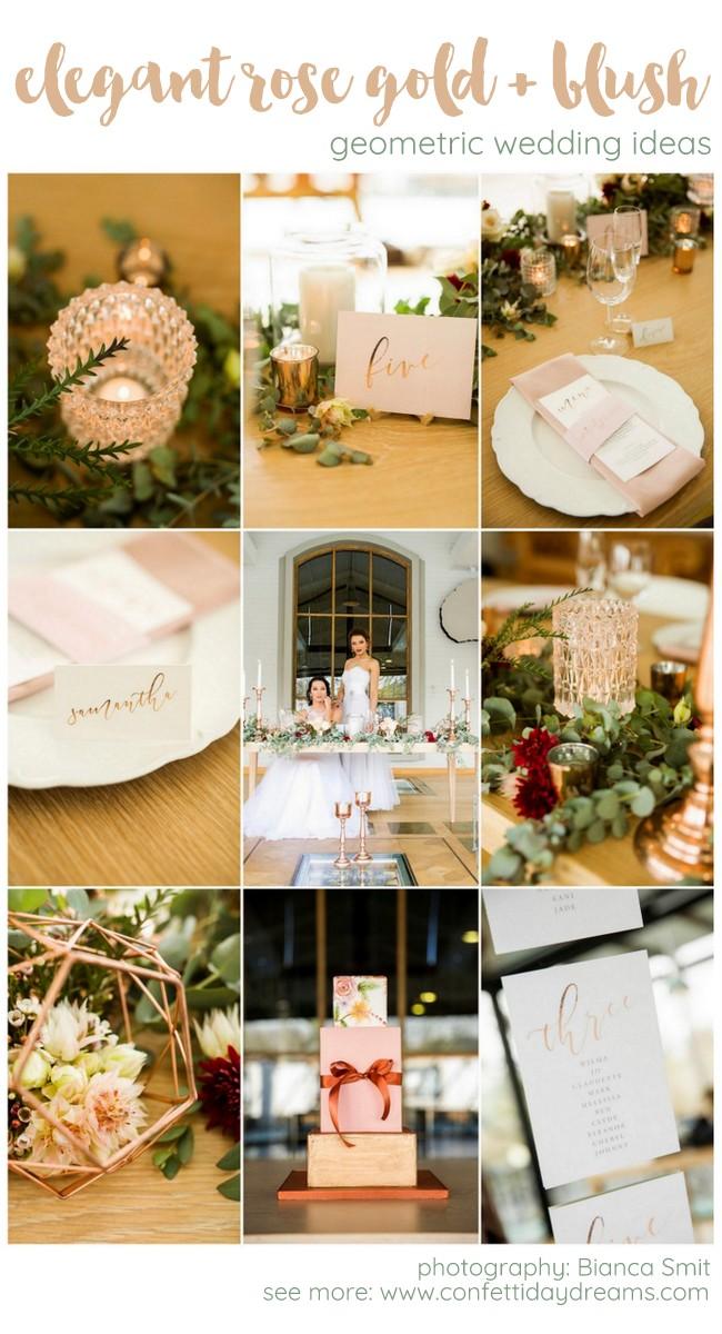 Oh So Elegant Copper Rose Gold Blush Geometric Wedding Decor