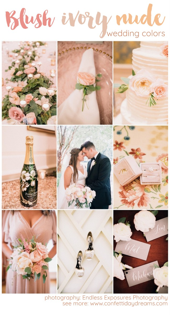 Check out this elegant Blush Pink, Ivory + Champagne Wedding Palette!