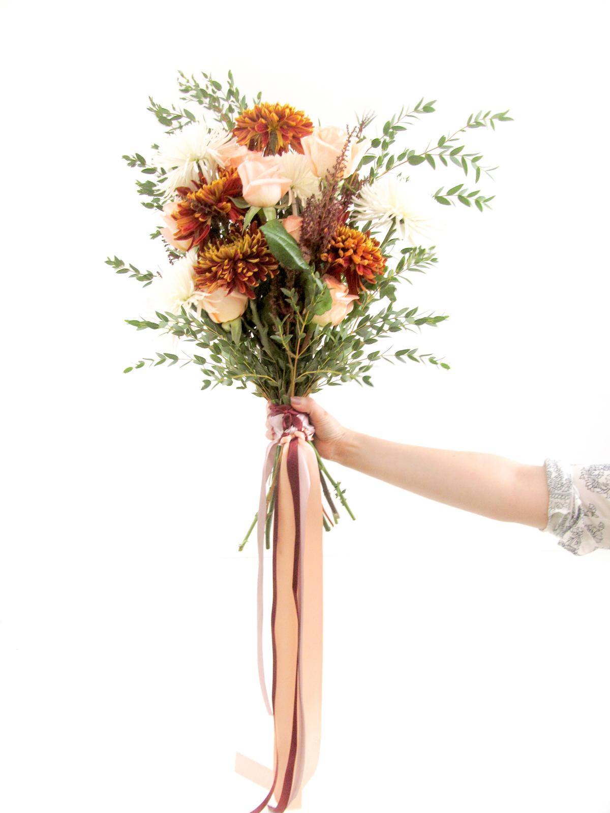 Easy Hand Tied Burgundy Cream Wedding Bouquet Diy Tutorial