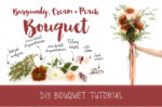 Make this pretty burgundy and cream DIY wedding bouquet tutorial.