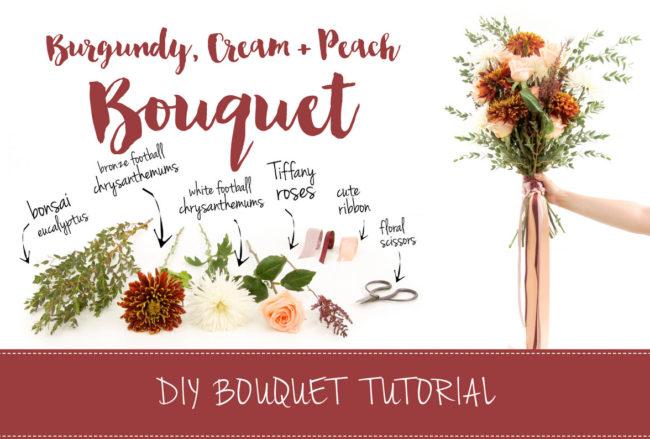 Easy Burgundy + Cream Wedding Bouquet: DIY Tutorial