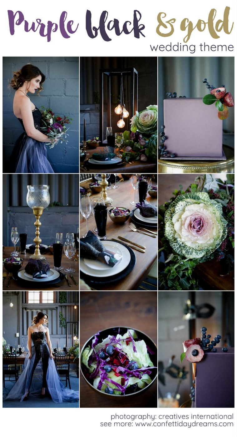 Plum purple black and gold wedding decor