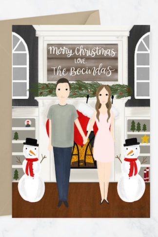 custom illustrated portrait christmas cards unique christmas cards