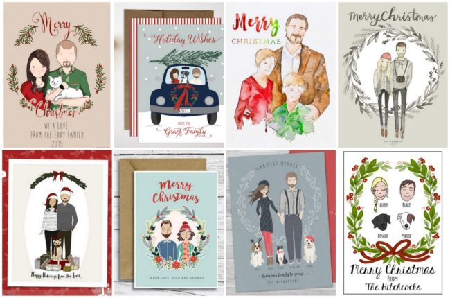 12 Custom Illustrated Portrait Christmas Cards With Your Faces!
