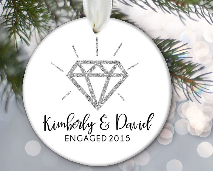 Engagement ring ornament personalized
