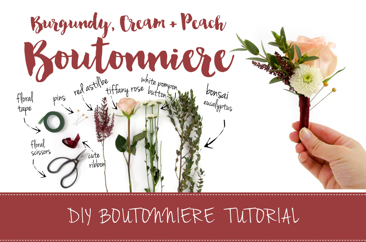 Burgundy Cream Wedding Boutonniere DIY Tutorial
