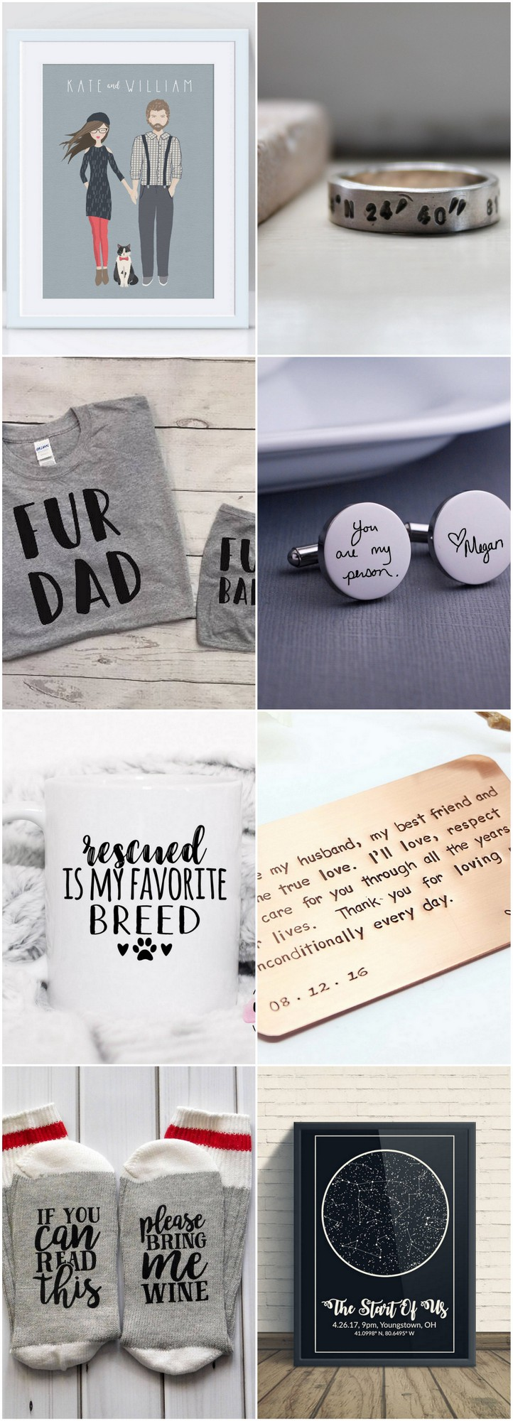 Creative presents for men - fun gifts for men who have everything. See GPS co-ordinate stamped rings, a constellation poster of the sky when you met + more!