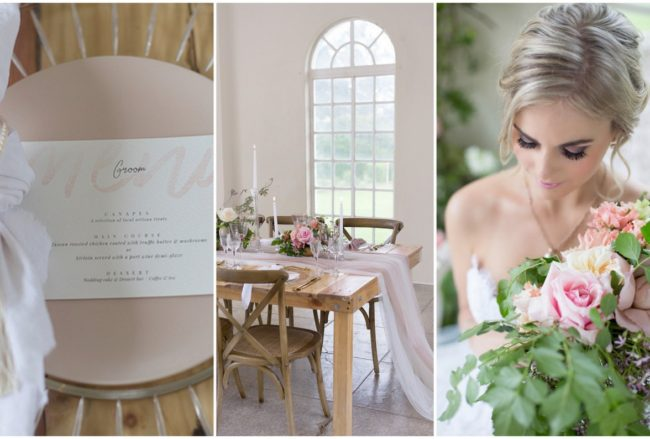 Delicate Blush, Ivory + Gold Wedding Reception Decor Ideas {Veronique Mills Photography}