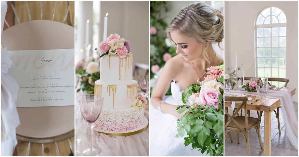 This Styled Tablescape A Gorgeous Three Tiered Ruffled Wedding Cake Dripping With Gold And Beautiful Soft Pink White Stationery