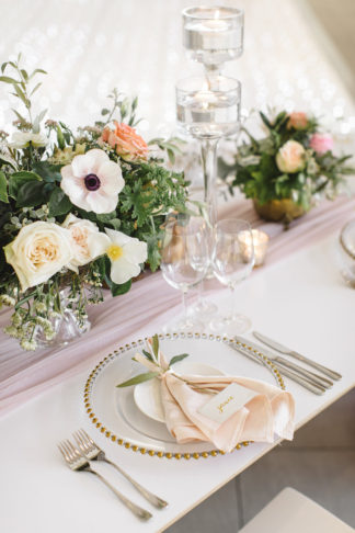 Coral peach and mint green wedding
