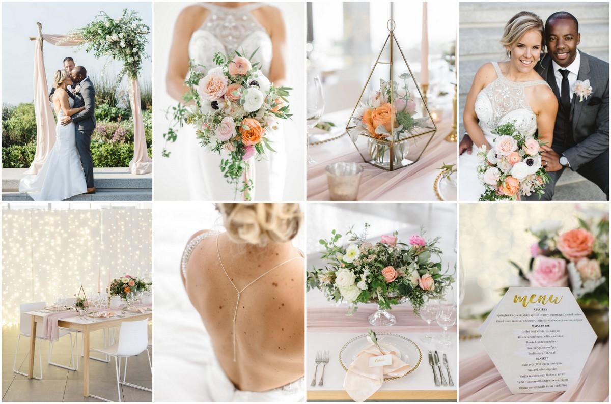 Coral peach mint green wedding