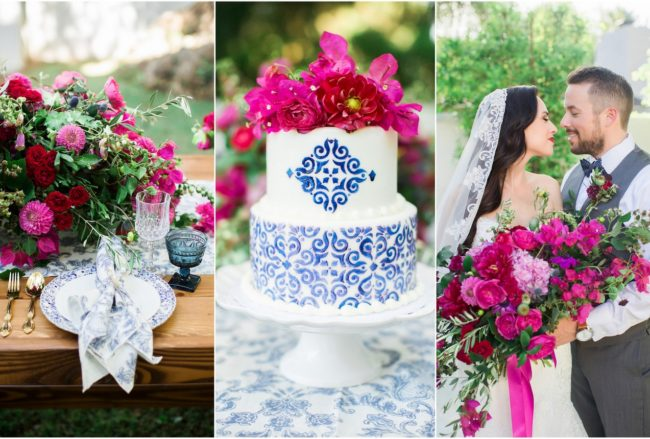 Bougainvillea + Blue Spanish Wedding Ideas {Jessica Q Photography}