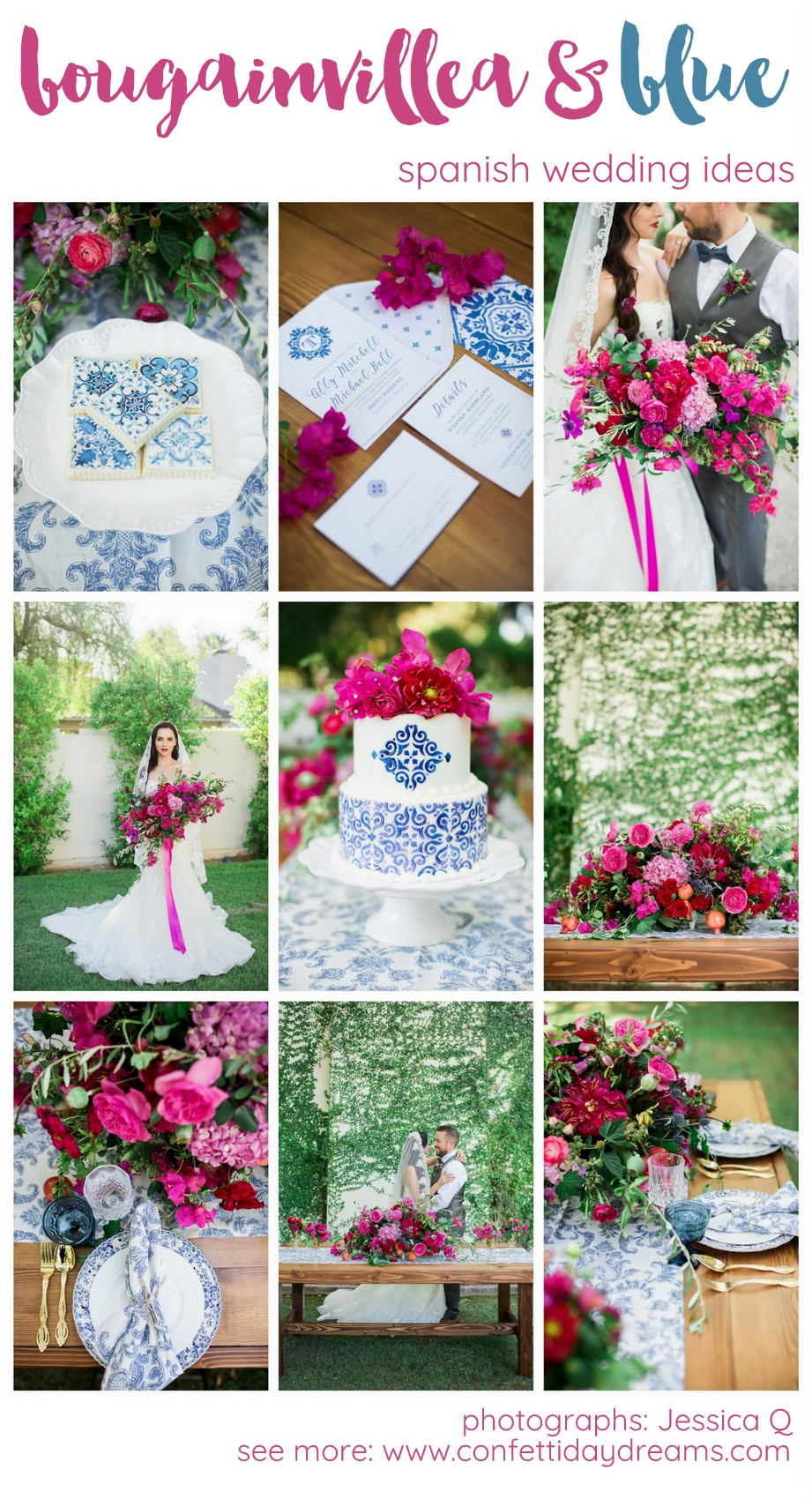 Bougainvillea and Blue Spanish Ceramic Wedding Ideas