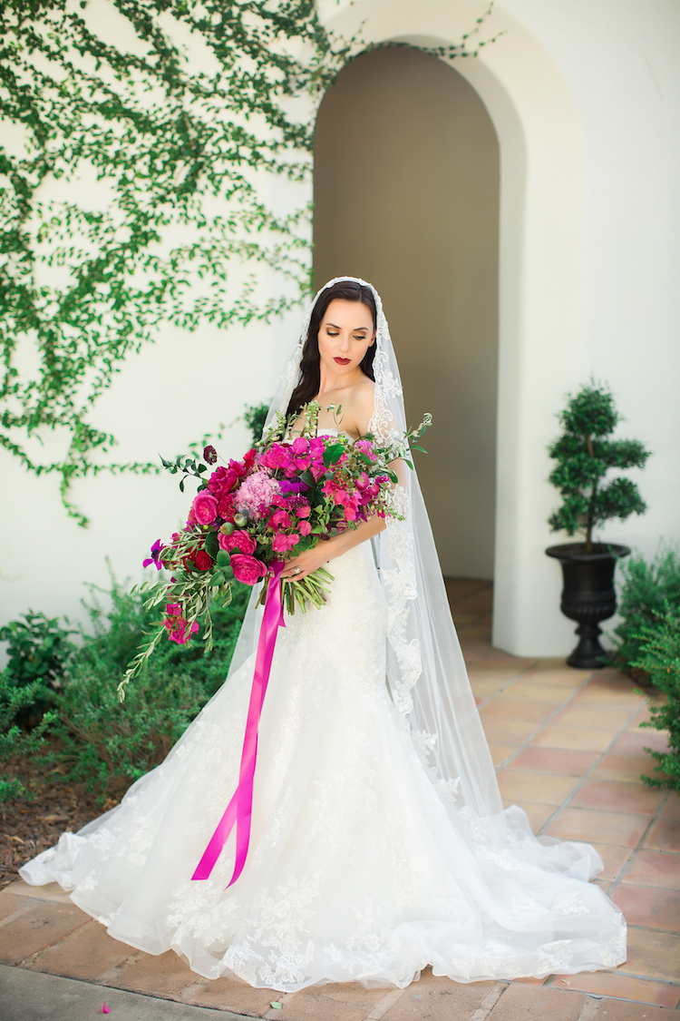 Bright pink Bougainvillea wedding bouquet