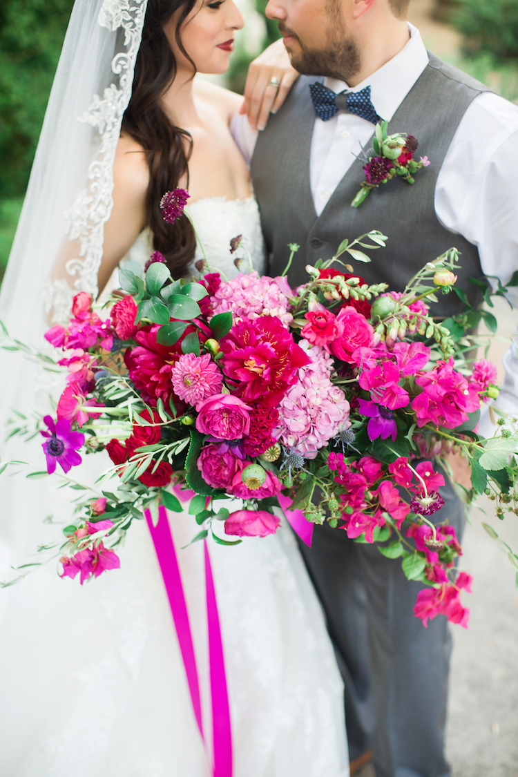 Cerise Pink Bougainvillea Spanish wedding bouquet