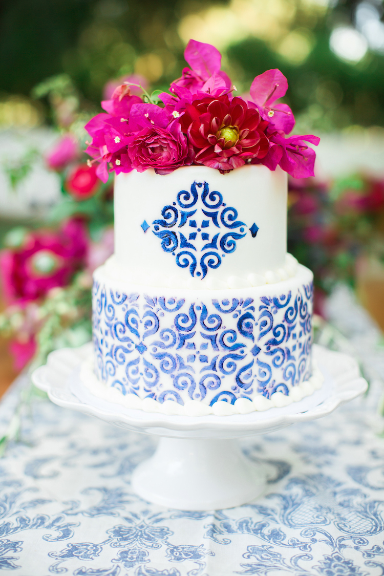 Spanish ceramic inspired wedding cake
