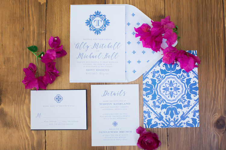 Spanish ceramics wedding invitations