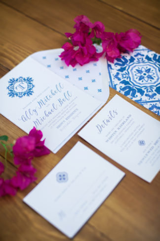 Vibrantly Beautiful Bougainvillea Blue Spanish Wedding Ideas