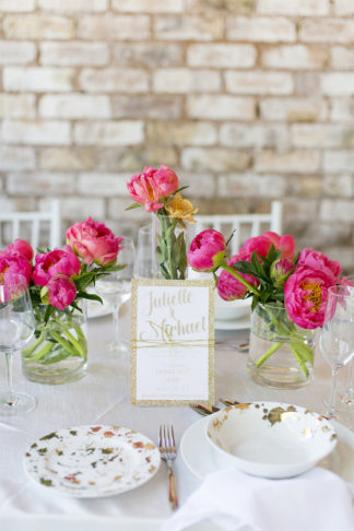 Coral Navy and Gold Summer Brunch Wedding