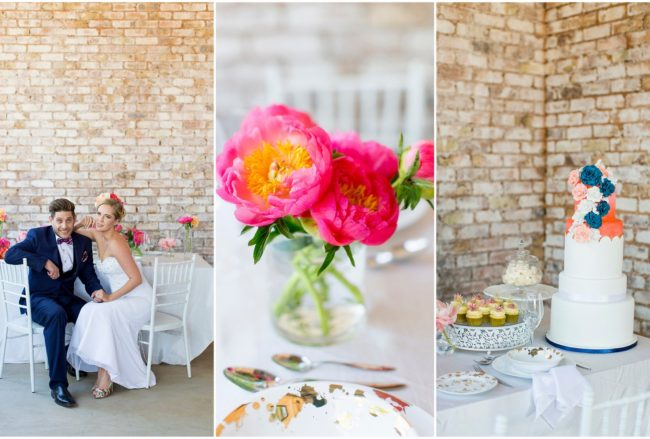 Cheerful Coral, Navy + Gold Summer Brunch Wedding Ideas (Marné Photography)