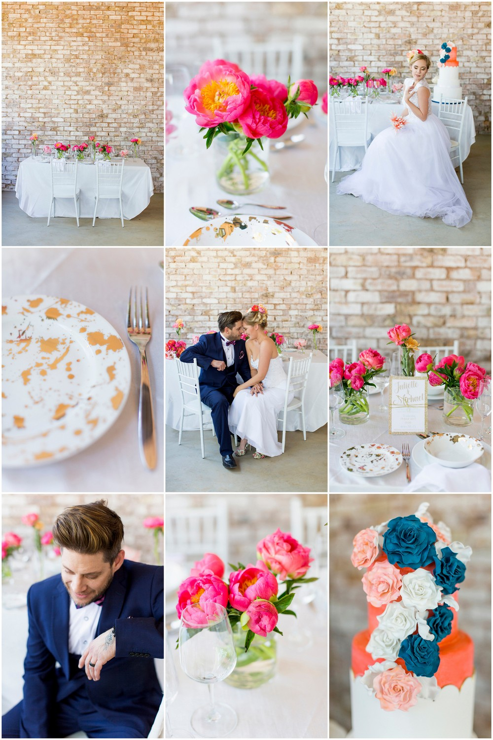 Coral Navy and Gold Summer Brunch Wedding Ideas