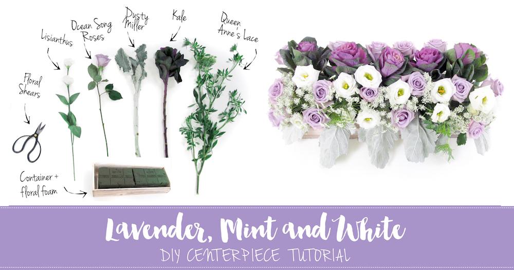 Easy To Make Lavender Mint White Diy Wedding Centerpiece