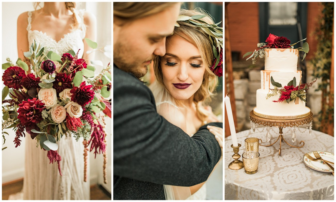 Deep Rich Colors And A Historical Setting Are The Foundations Of This Boho Inspired Burgundy Ivory Green Wedding Inspiration Shoot
