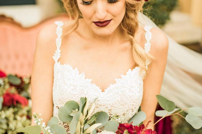 Boho-Inspired Burgundy, Ivory + Green Wedding {Allison Photography}