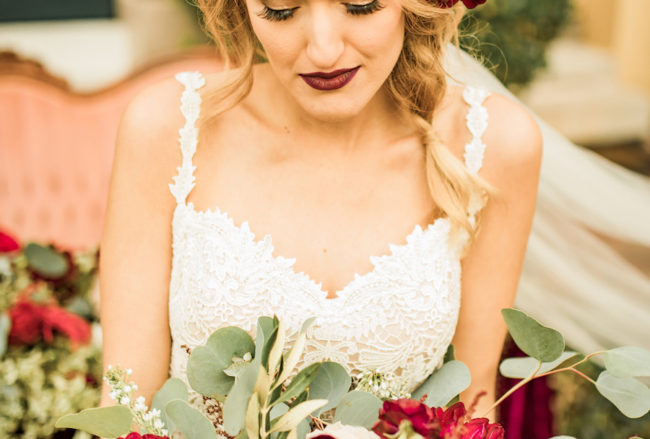 Boho-Inspired Burgundy, Ivory + Green Wedding {Allison Photography}