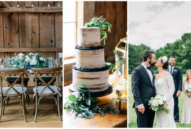 Elegant Barn Wedding with Neutrals, Gold + Greenery {Maine Tinker Photography}