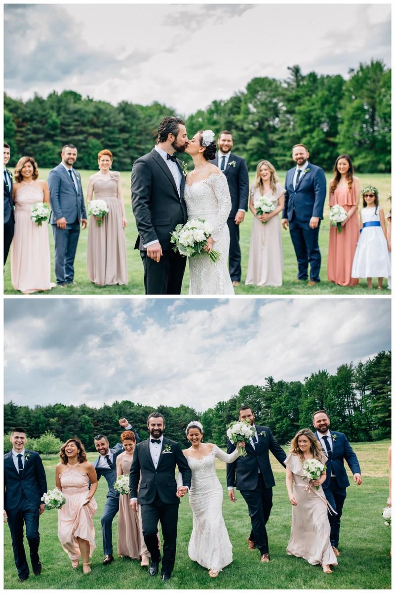 Elegant barn wedding bridal party