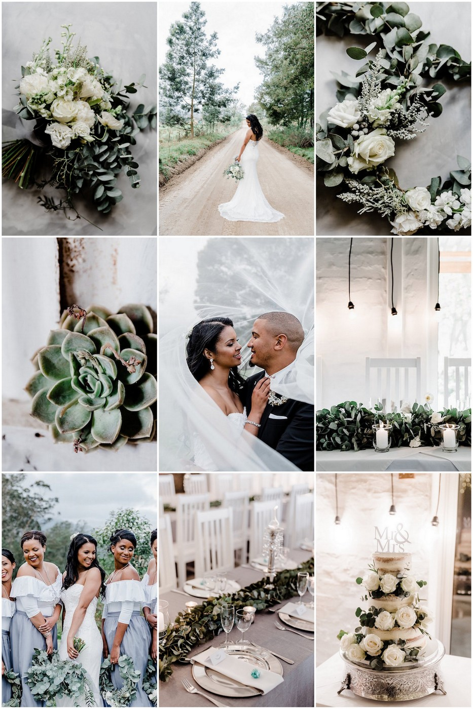 This gorgeous Garden Route wedding in George, South Africa features a silver, green + white wedding held in a rustic farm chapel, bridesmaids in romantic 2-piece gowns, eucalyptus wreath bouquets & wreath boutonnieres!