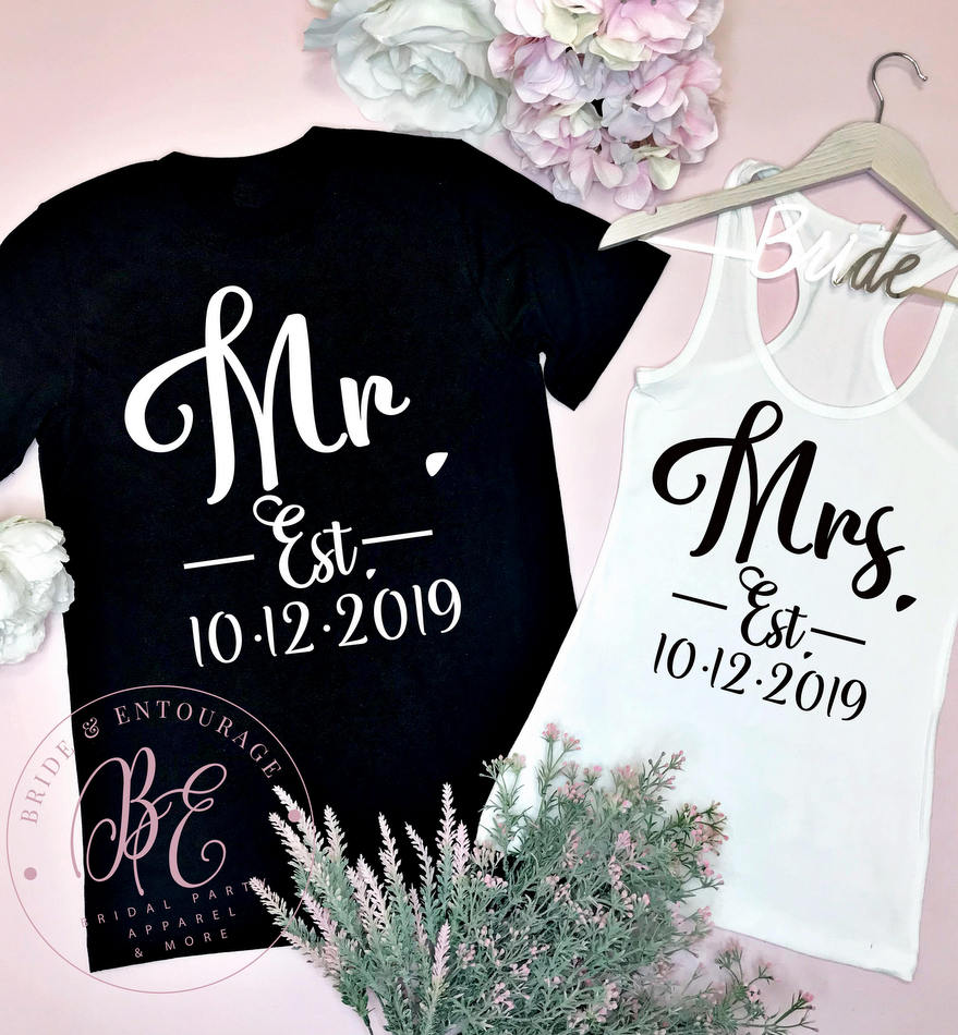 Mr and Mrs Established Year Honeymoon shirts