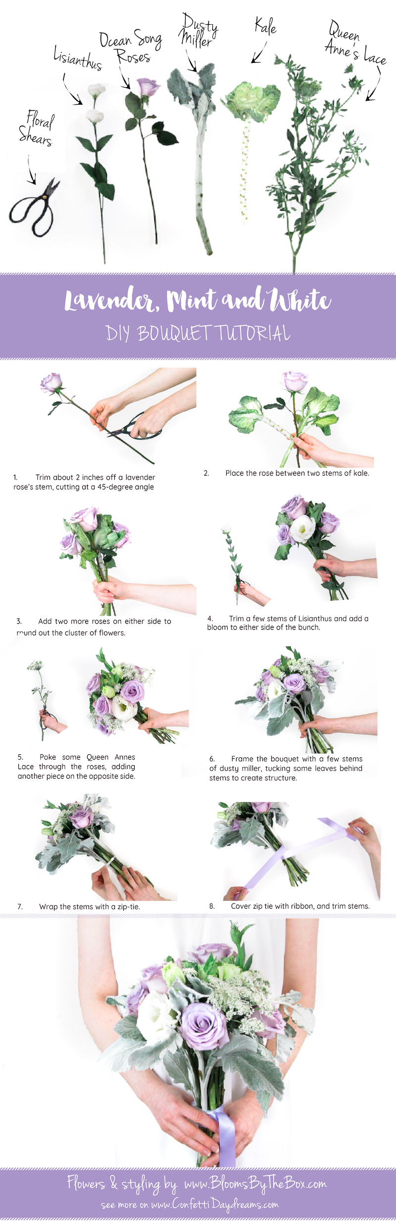 Lavender Mint and White DIY Wedding Bouquet Tutorial