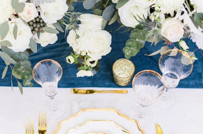 Dreamy Dusty Blue + Gold Wedding Inspiration {Kiste Photography}