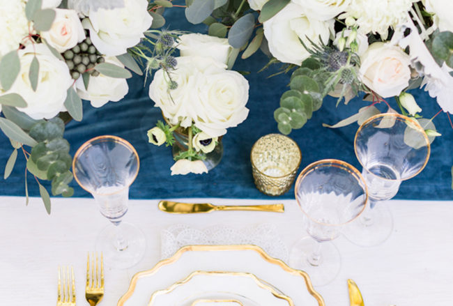 Dreamy Dusty Blue + Gold Wedding Inspiration {Kiste Photography}