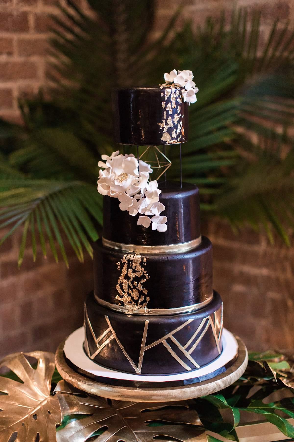 Gold Black Tropical Elegance Wedding Cake