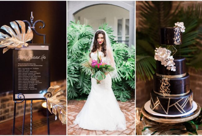 Gold Black Tropical Wedding Theme