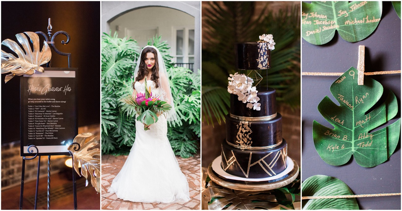 Gold Black + Tropical Wedding Theme