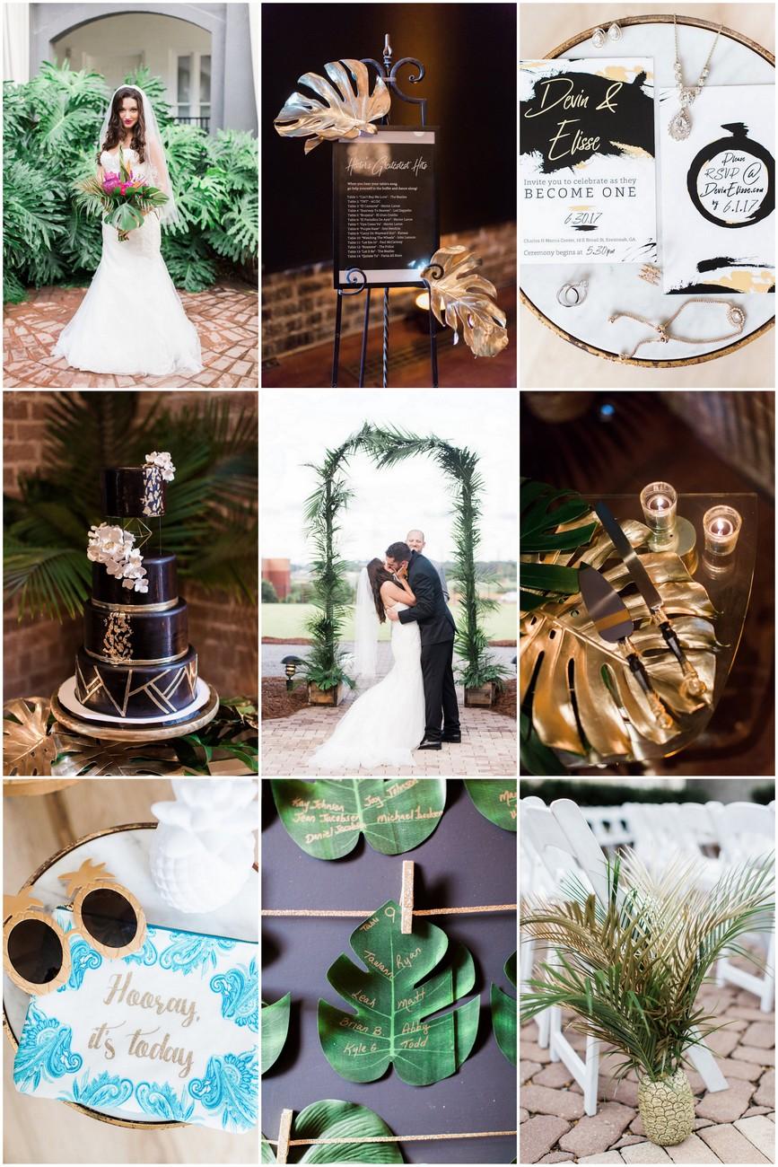 Gold + Black Tropical Wedding Theme