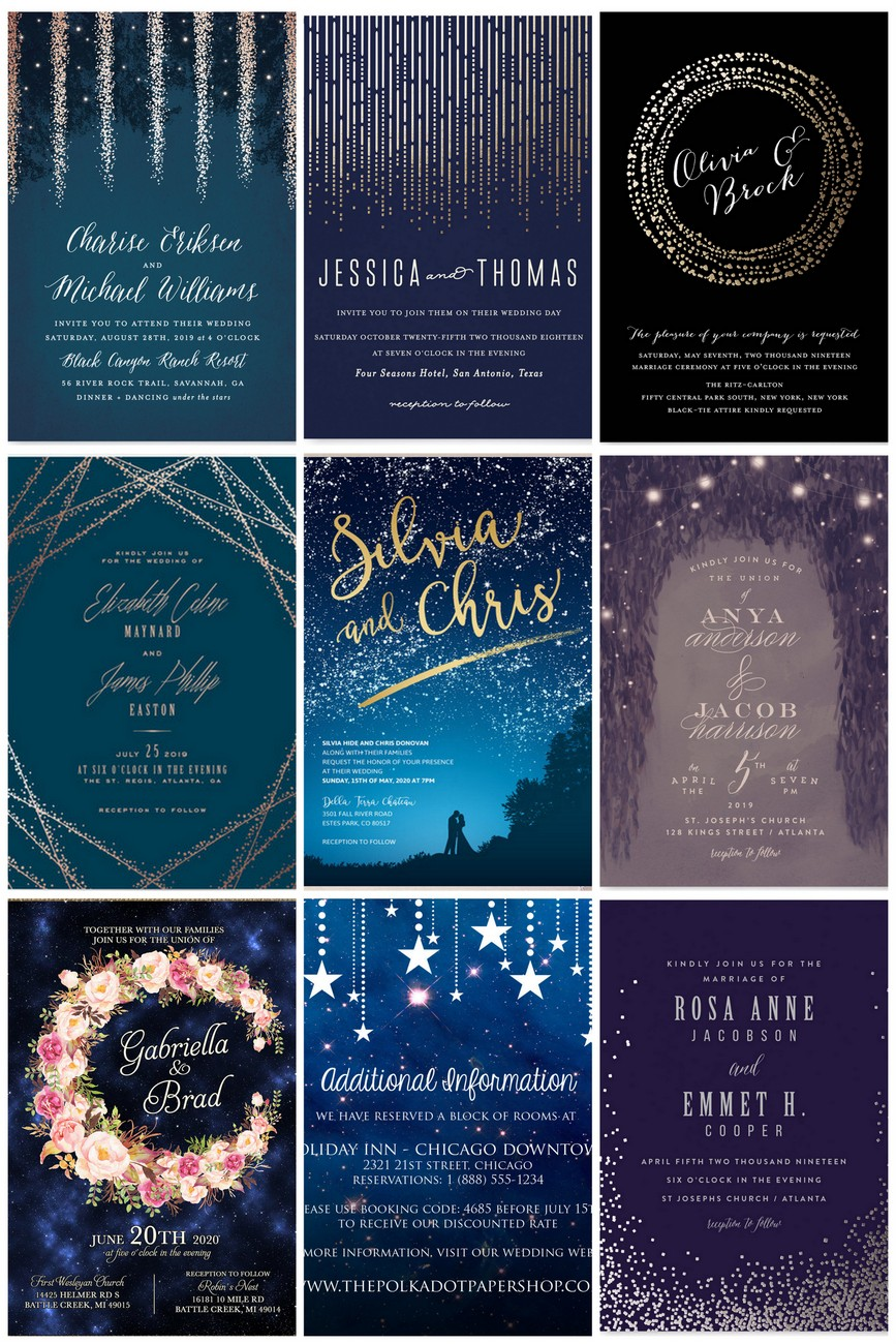 Sparkling Starry Night Wedding Invitations