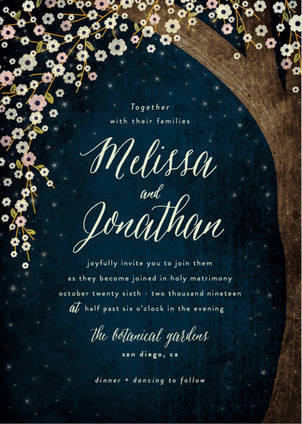 Spend The Evening Celebrating Outside, Beneath Branches And Boughs Backed  By Ethereal Beauty. Check Out These Botanical Starry Sky Wedding Invitations  For ...