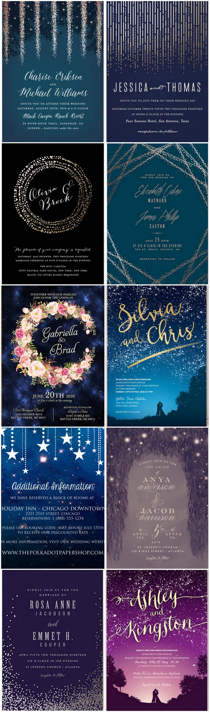 17 Awesome Starry Night Wedding Invitations