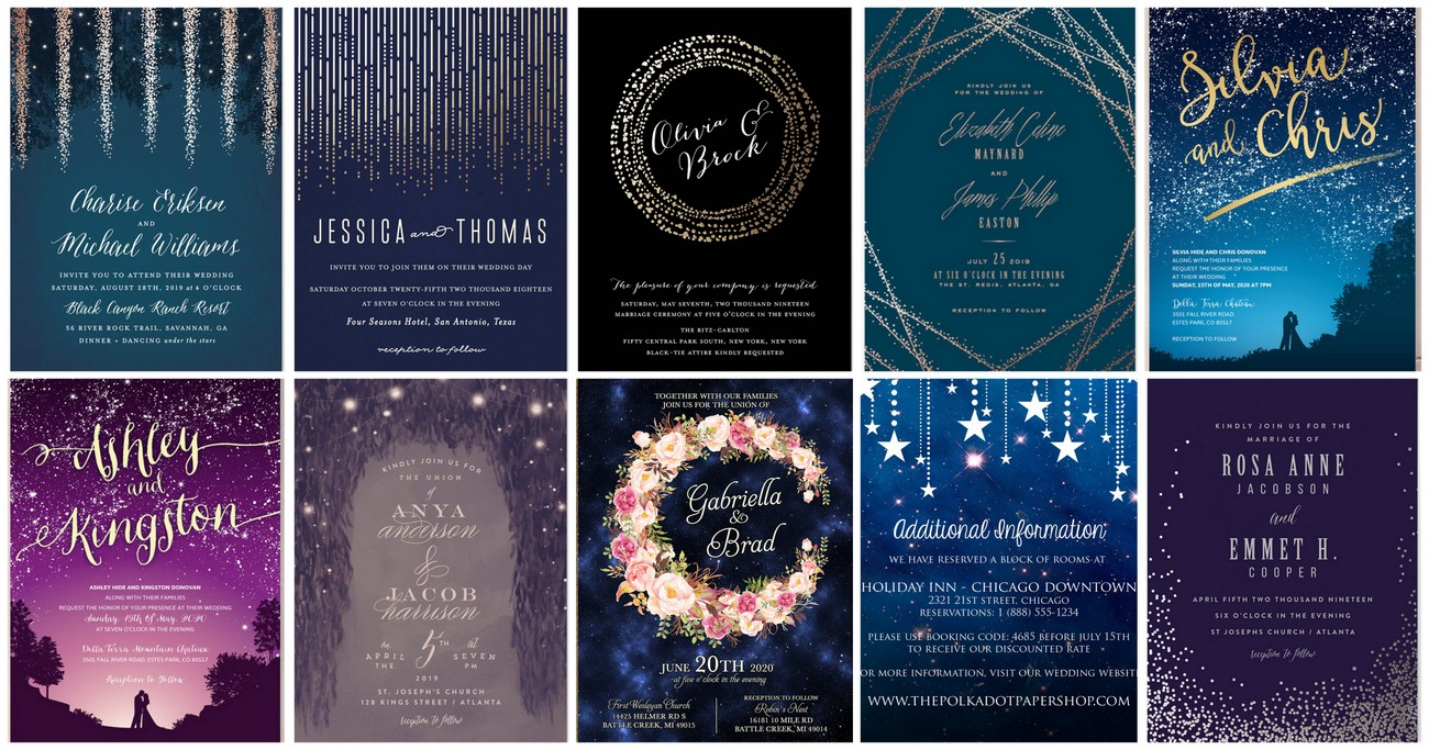 Beautiful 17 Starry Night Sky Wedding Invitations