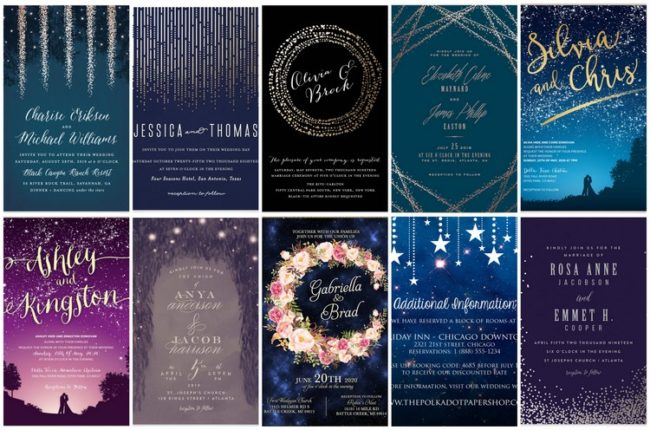 Beautiful 17 Starry Night Wedding Invitations