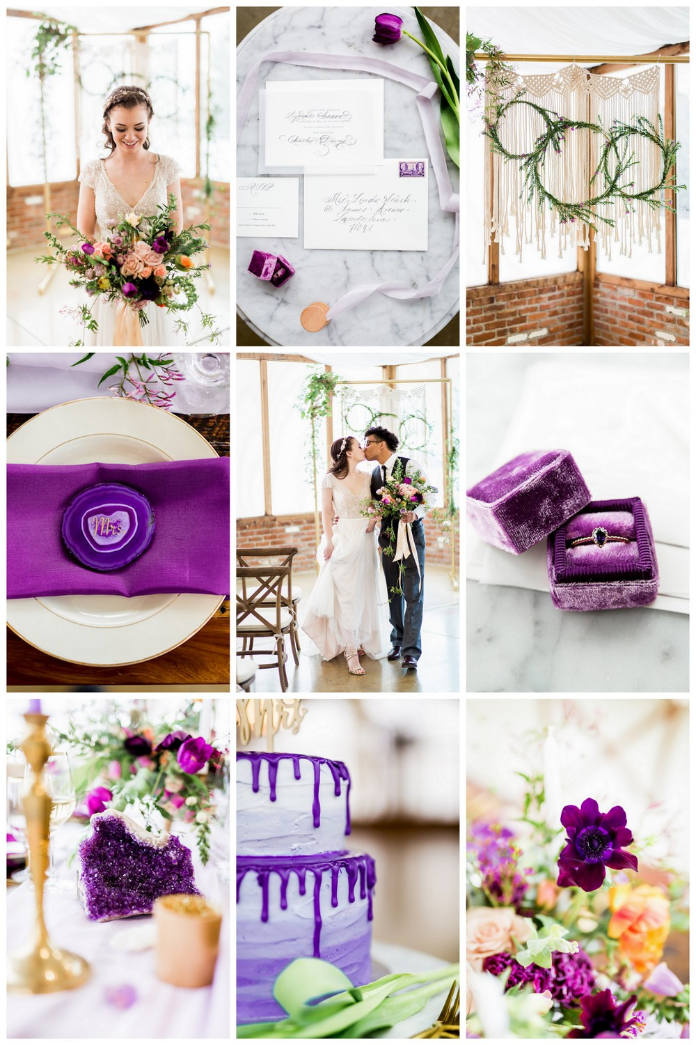 This modern indoor wedding, inspired by Pantone's Ultra Violet, is dripping with gorgeous geode deets, romantic touches and boho wedding vibes.