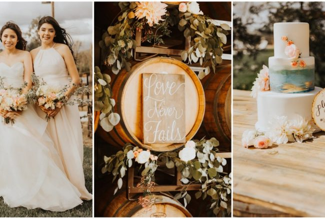 Rustic Elegance: Blush + Gold Winery Wedding Ideas {Chrissy Gilmartin Photography}